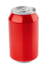 Red aluminum can isolated on white with clipping path