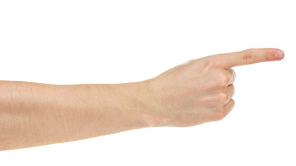 adult man hand pointing