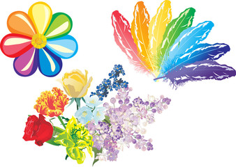 rainbow objects on white background