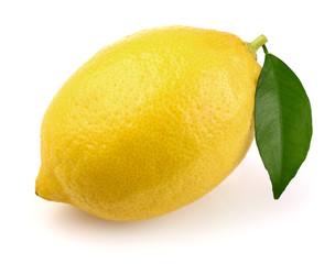 Ripe lemon with leaf