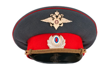 Russian police officer cap isolated on white background
