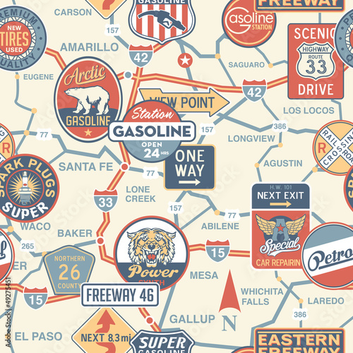 Vintage Vector Road Map With Signboards Seamless Pattern Stock - Antique road maps
