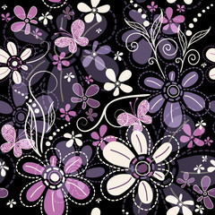 Repeating dark floral pattern