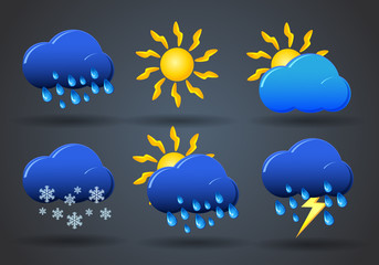 Weather icon sign set on gray