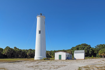 The Egmont Key lighthouse in Tampa Bay, Florida
