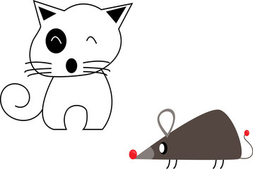 Cartoon cute cat and rat   isolated on white background