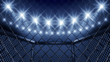 Aluminium Prints Martial arts MMA cage and floodlights