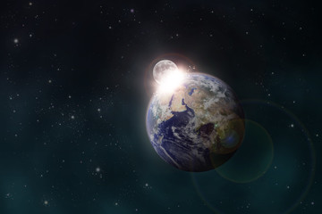 the Moon impacts the Earth space scene