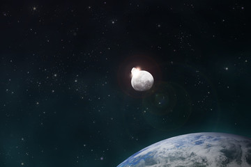 meteorite impacts the Moon space scene