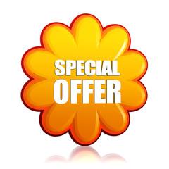 special offer orange flower label