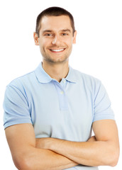 Cheerful young man, over white