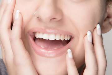 Healthy Mouth. French Manicure. Beauty Smile