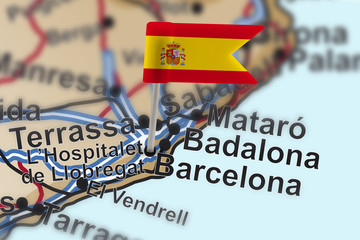 pin with flag of Spain in Barcelona