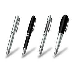 Pen set on a white background