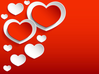 Red Hearts on a Red Background