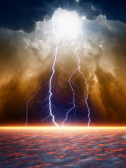 Fototapete - Dramatic moody sky
