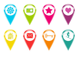 Set de iconos para marcadores en mapas con símbolos y colores