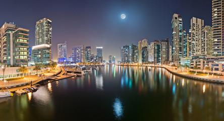 Dubai Marina from Bridge with Moon