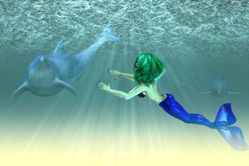 Aluminium Prints Mermaid Mermaid girl with dolphins