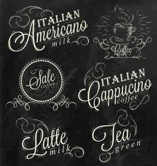 Names of coffee drinks chalk dark