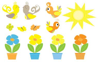 wiosenne słońce ptaszki i kwiaty