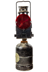 Old traffic warning light isolated on white