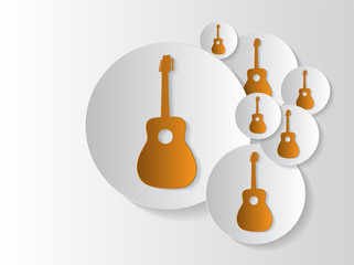 Abstract sticker background with guitar circles