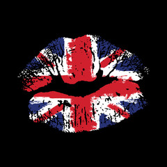 Great Britain flag lipstick on grunge lips