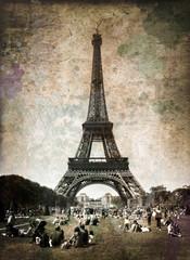 Tour Eiffel et champ de mars vintage
