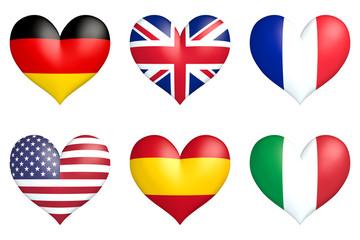 nation hearts Germany, Great Britain, France, USA, Spain, Italy
