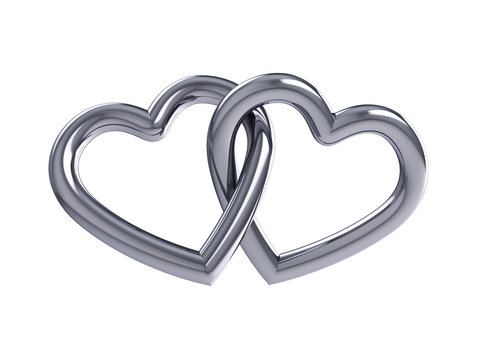 Couple of intersecting silver hearts,isolated on white