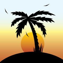 Vector illustration of a tropical sunset and palm tree.