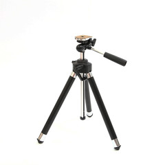 Mini Black metal tripod isolated on white background