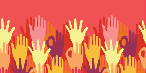 vector hands in the crowd horizontal seamless pattern background