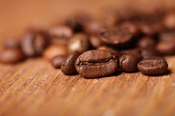 Macro photo of coffee beans, low depth of focus