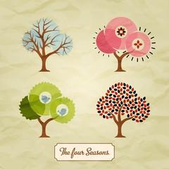 Four Seasons Trees Background Illustration