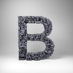 Letter B made out of scrambled small letters in studio setting