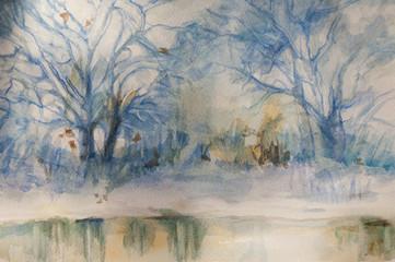 watercolor landscape - winter scenes