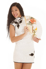 Asian woman white dress fan smile