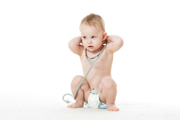 Child with stethoscope.