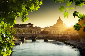 Poster de jardin Rome view on Tiber and St Peter Basilica in Vatican