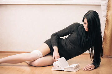 Reading brunette