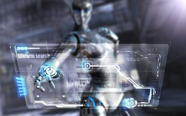 weiblicher Cyborg benutzt Computerinterface