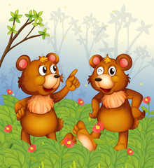 Spoed Fotobehang Beren Two bears in the garden