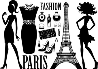 In de dag Doodle Fashionable set with silhouettes of women