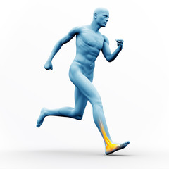 Blue human figure running with yellow highlighted ankle