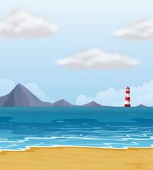 A light house and a beach