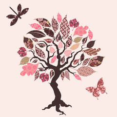 Wall Murals Birds, bees Vector tree with patch leaves
