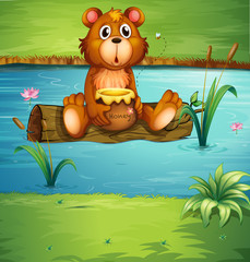 Canvas Prints River, lake A bear sitting on a dry wood