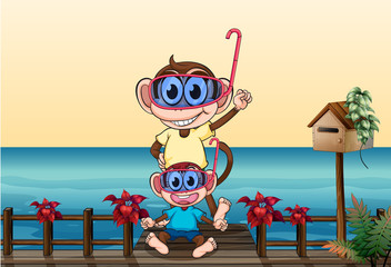 Poster Ours Monkeys wearing goggles